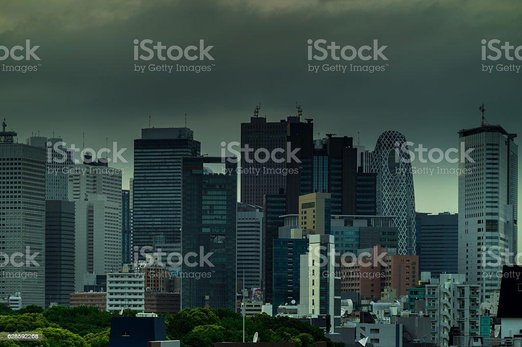 Stormy Shinjuku Skyline stock photo