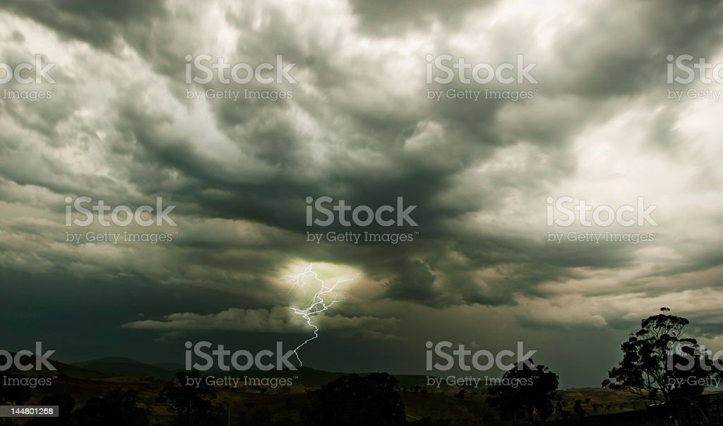 A stormy skies and a thunderstorm seen in the horizon royalty-free stock photo