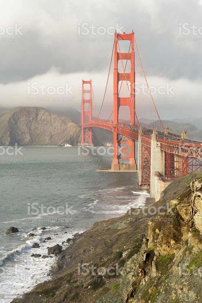 Stormy Skies on the Golden Gate Bridge stock photo
