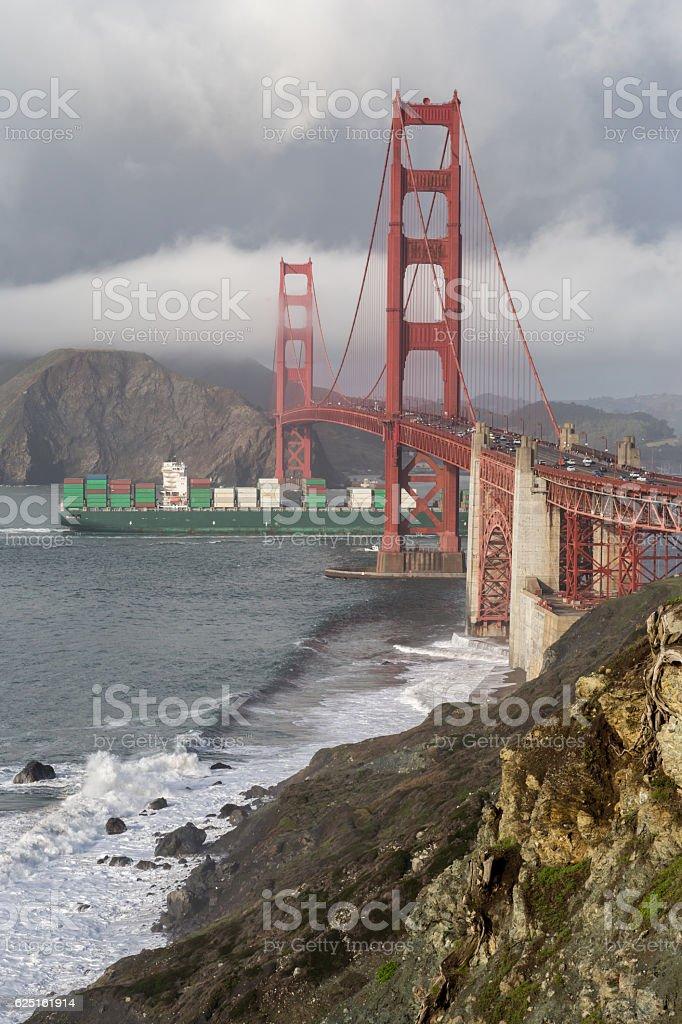 Stormy Skies on the Golden Gate Bridge stock photo