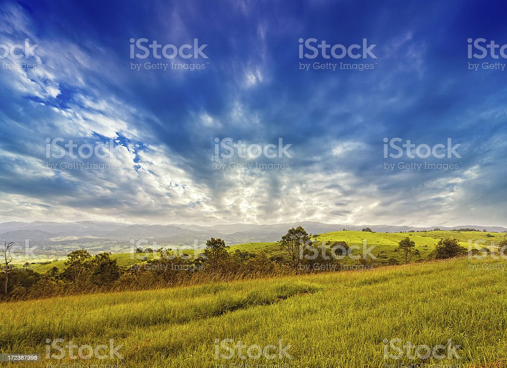 Stormy Skies over Australian Field royalty-free stock photo