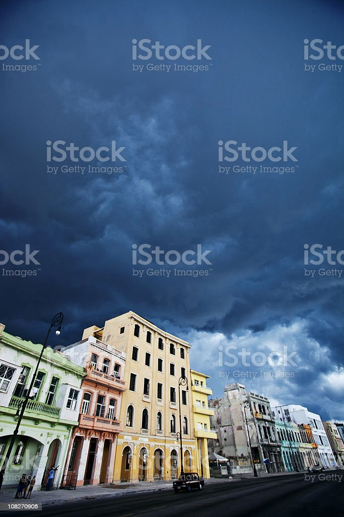 stormy skies over town royalty-free stock photo