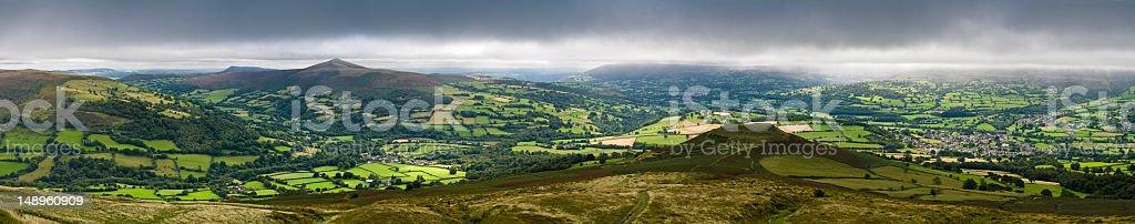 Stormy skies patchwork landscape stock photo