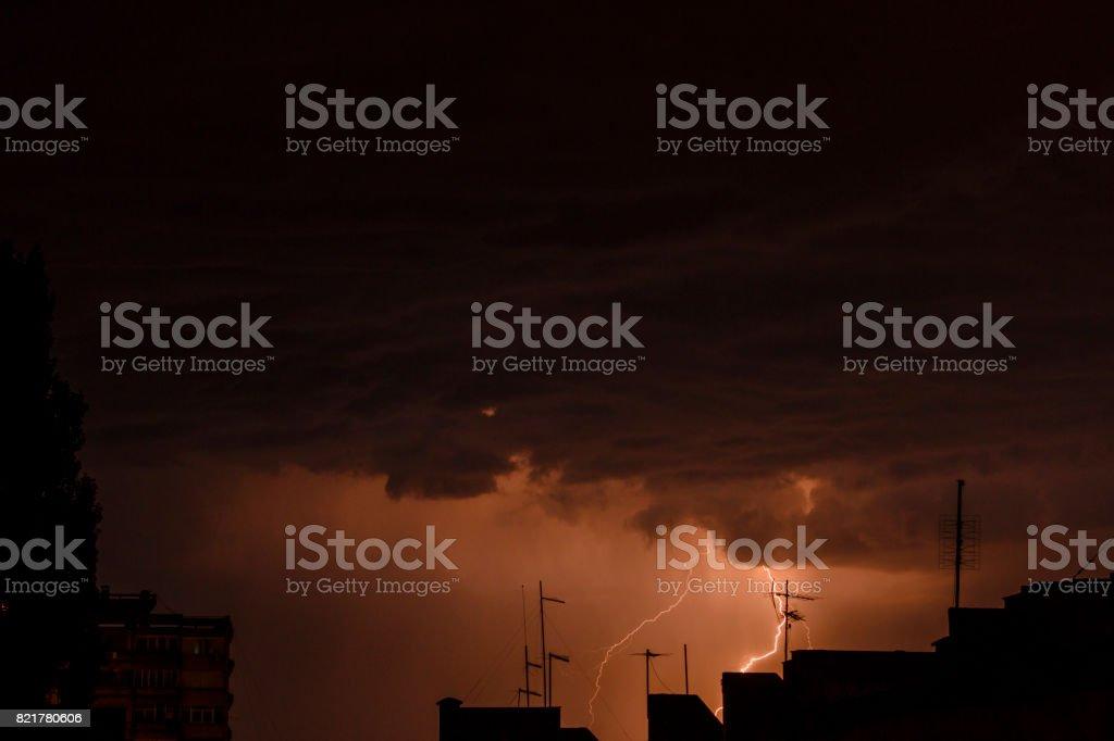 Stormy Skies with multiple lightning strikes stock photo