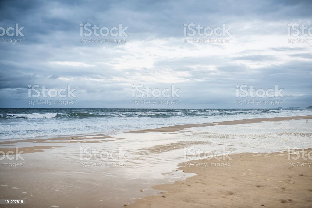 Stormy Sky and a Beach stock photo