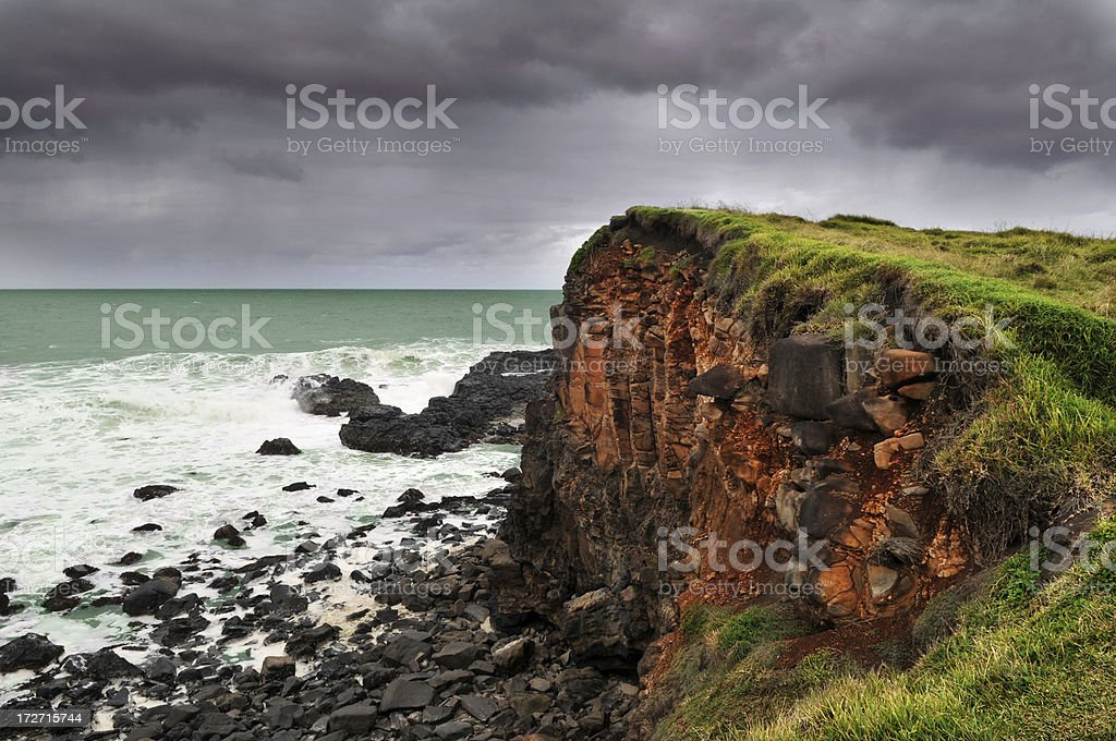 Stormy Sky approaching a headland royalty-free stock photo