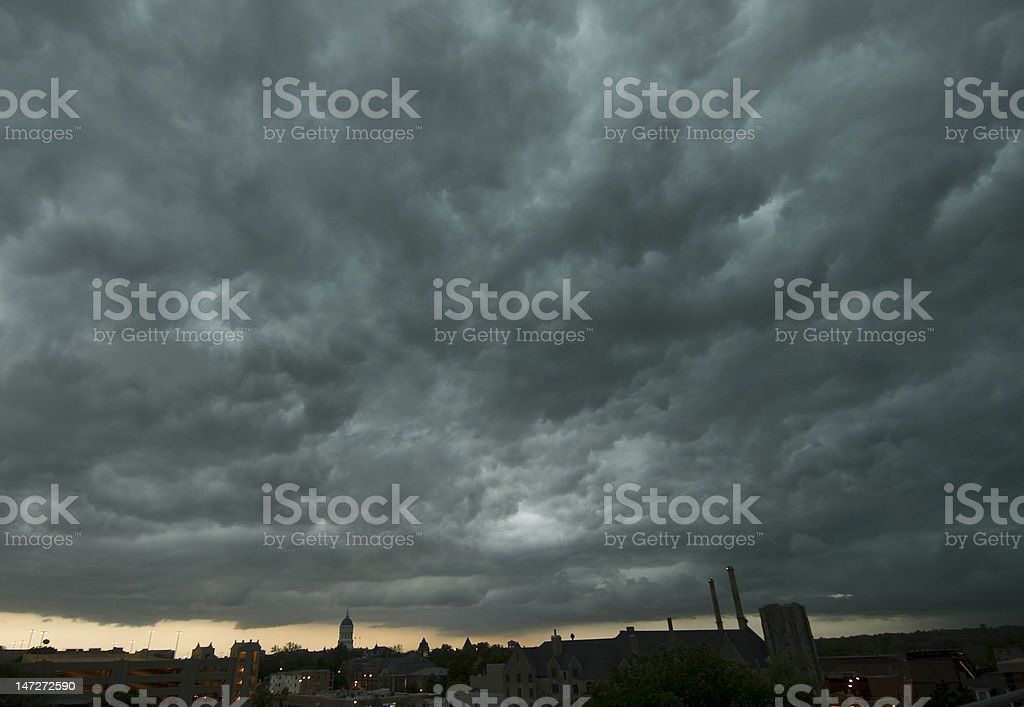 Stormy Sky, Midwestern Town royalty-free stock photo