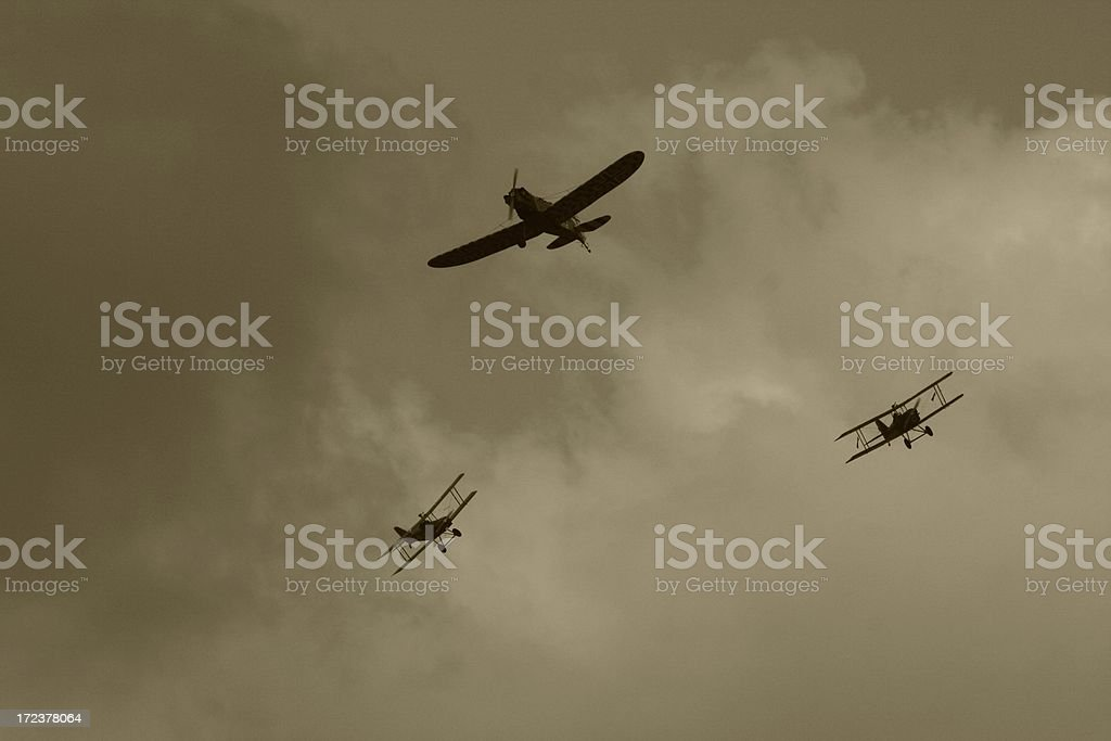 Stormy sky of the WWI dogfight in sky stock photo