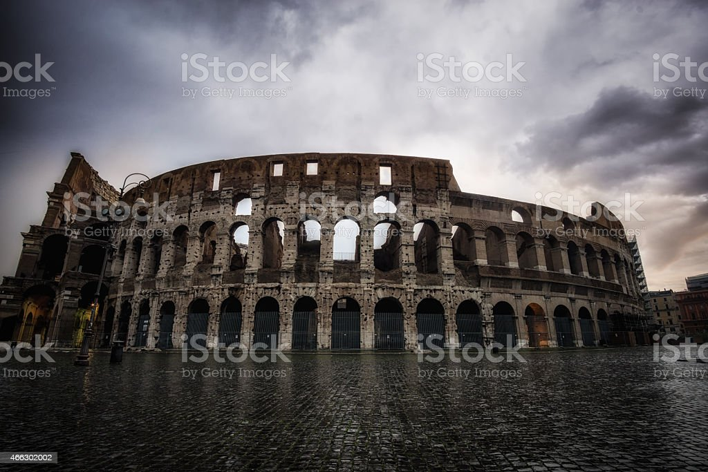 Stormy sky over Colosseum stock photo