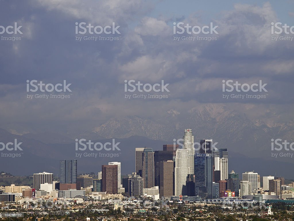 stormy sky over downtown Los Angeles stock photo