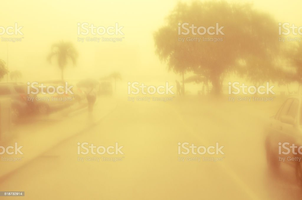 stormy street with monsoon rain stock photo