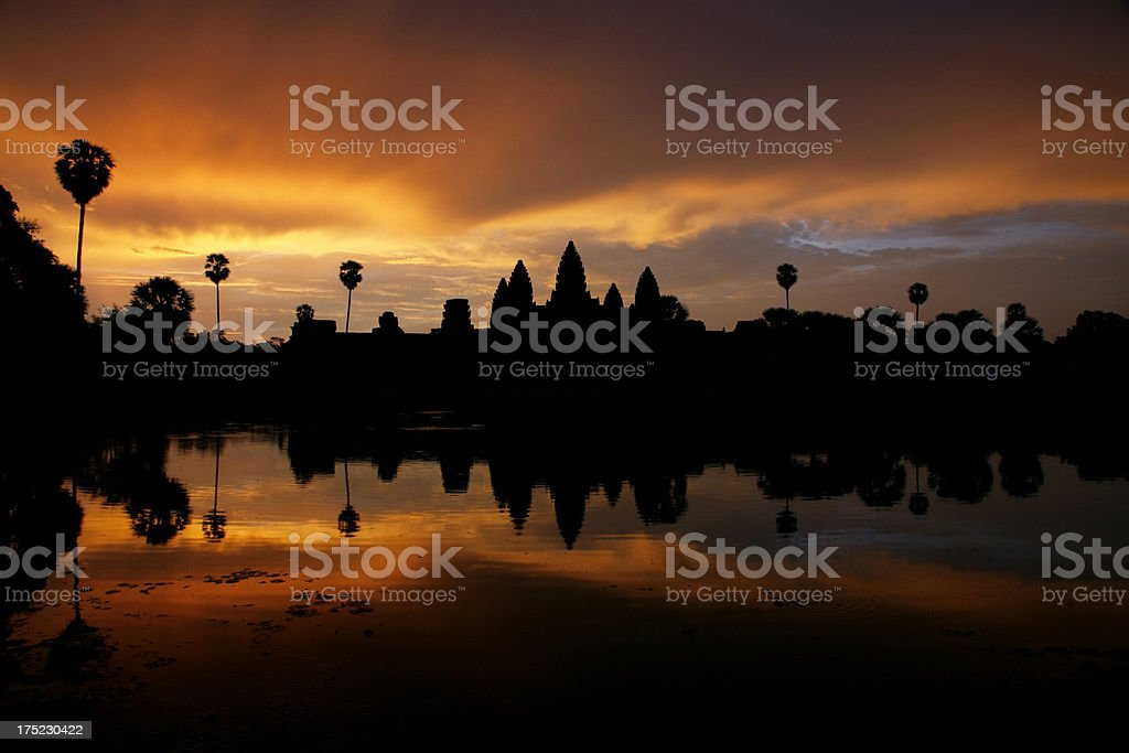 Stormy sunrise over Angkor Wat and reflection royalty-free stock photo