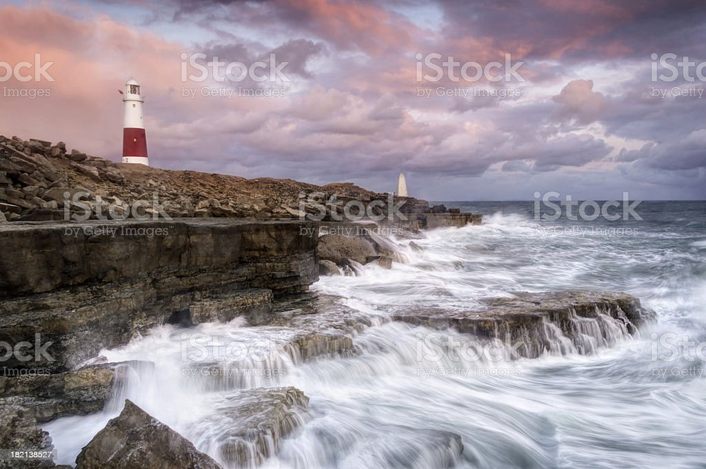 Stormy Sunset at Portland Bill stock photo