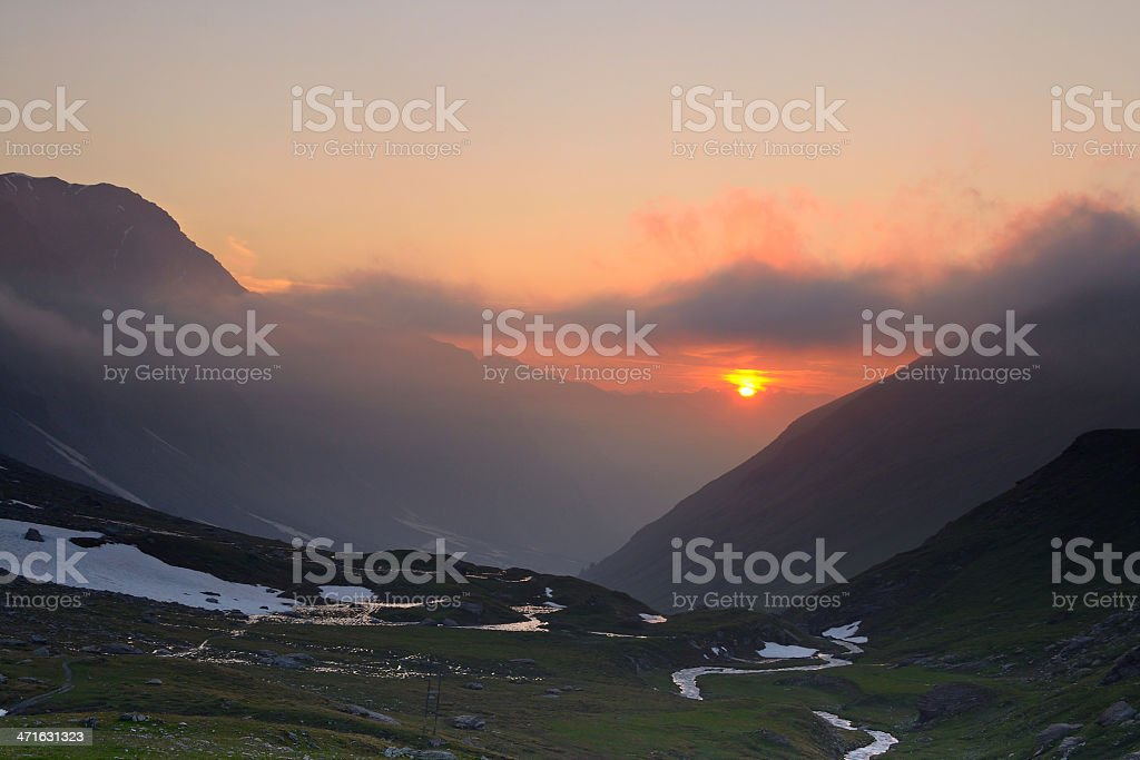 Stormy sunset in the Alps royalty-free stock photo