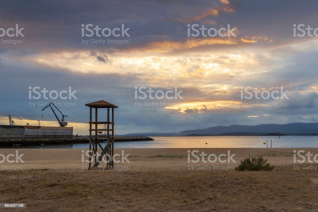 Stormy sunset on Concha beach stock photo