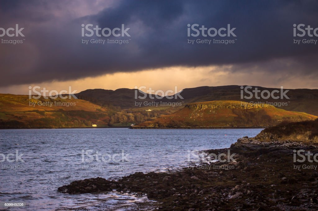 Stormy Sunset on the Isle of Skye stock photo