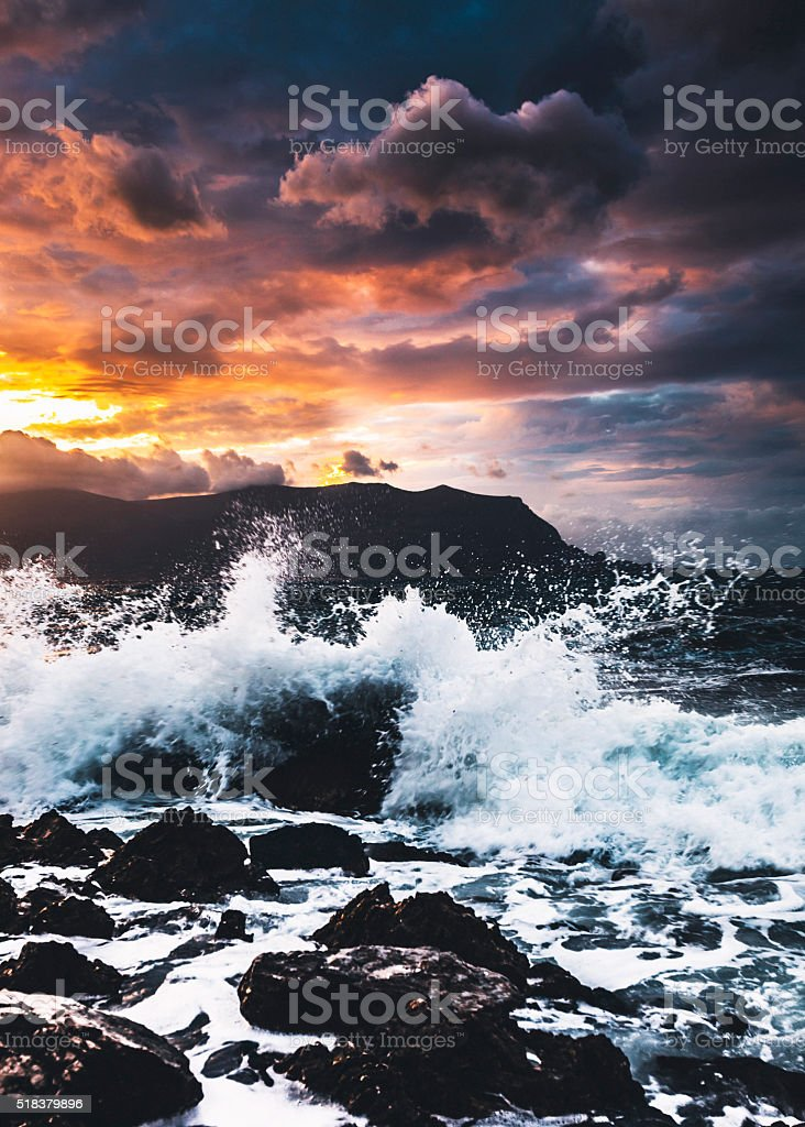 Stormy sunset, Sicily. stock photo