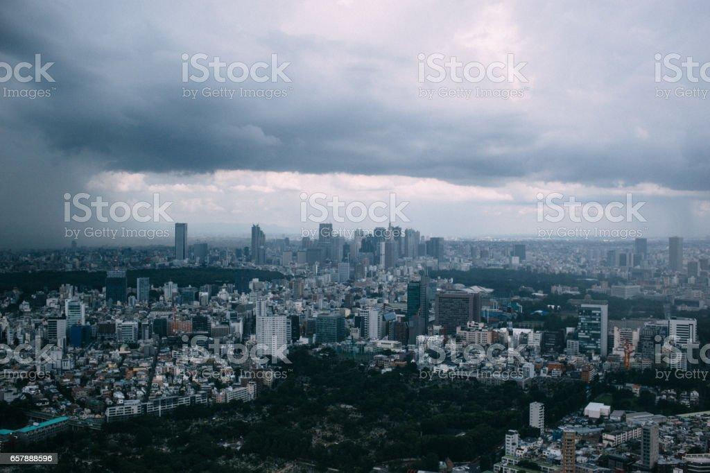 Stormy Tokyo stock photo