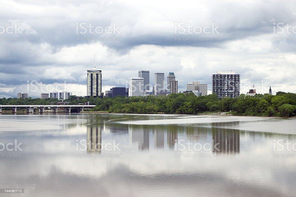 Stormy Tulsa Skyline stock photo