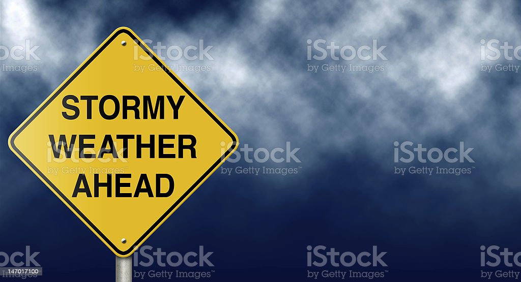 Stormy Weather Ahead Road Sign stock photo