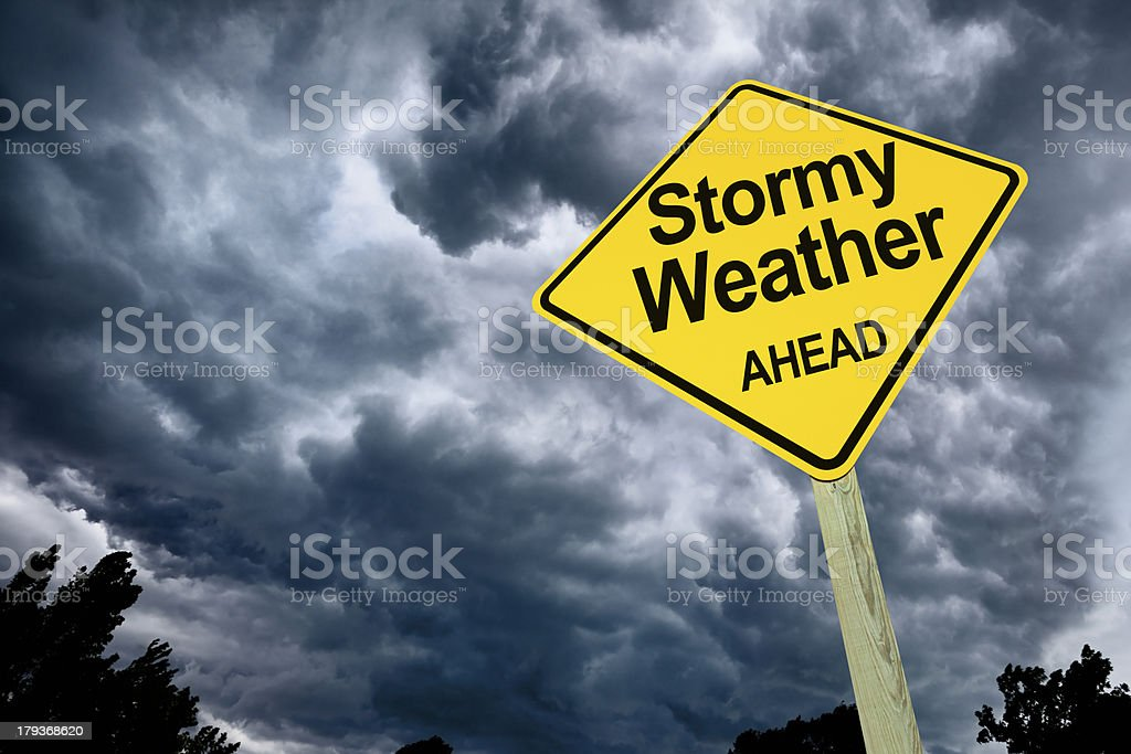 Stormy Weather Ahead Road Sign royalty-free stock photo