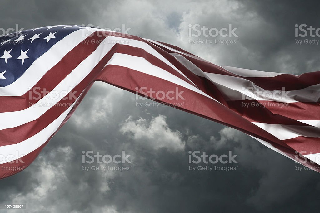 Stormy Weather American Flag royalty-free stock photo