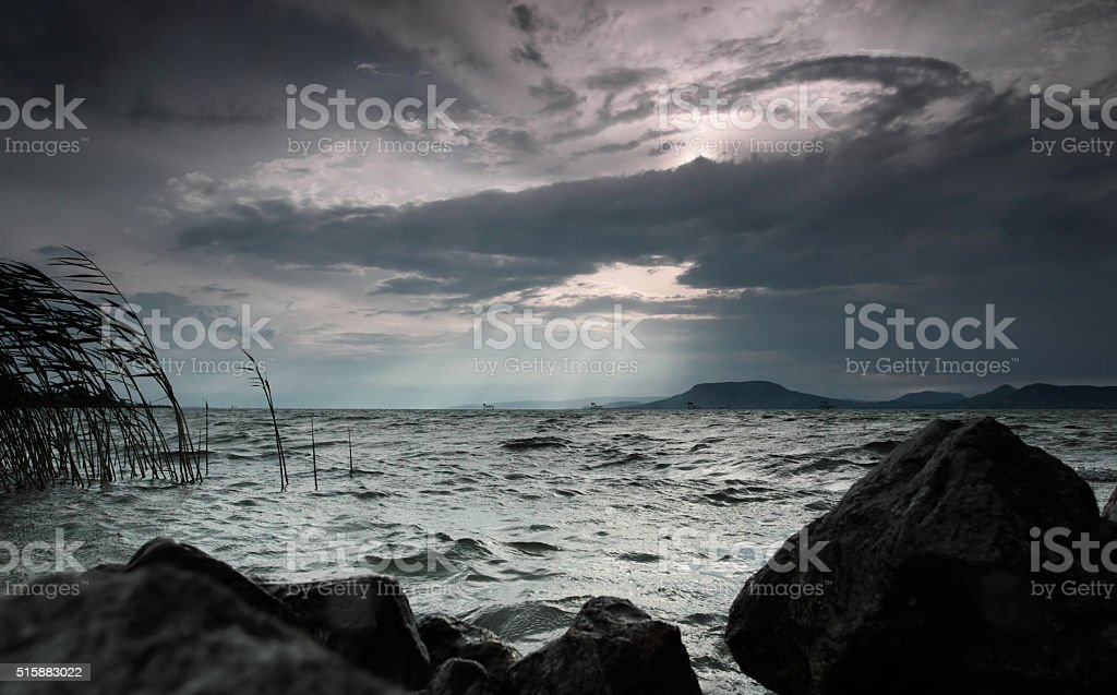 Stormy weather at Lake Balaton, Hungary stock photo
