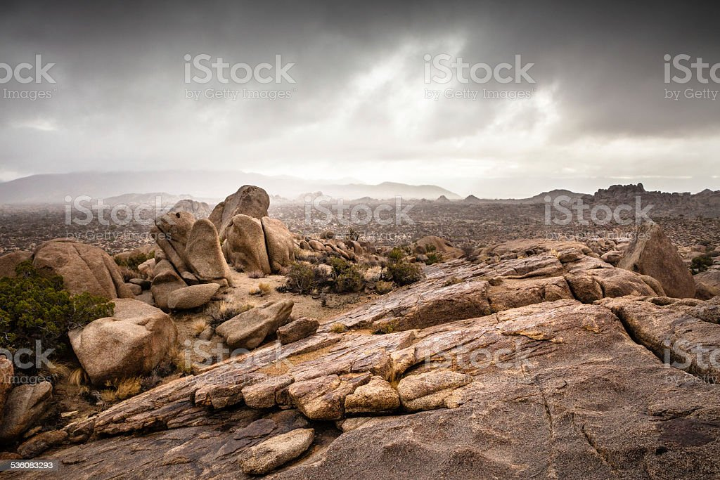 Stormy Weather In A Rocky Joshua Tree National Park Landscape stock photo