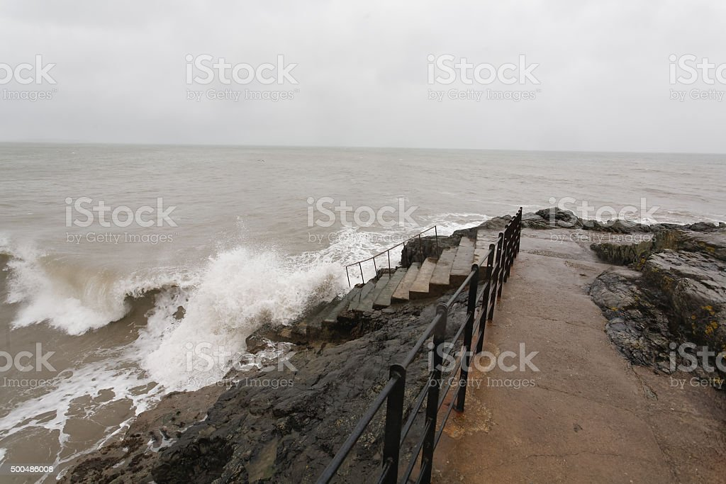 Stormy weather in Greystones royalty-free stock photo