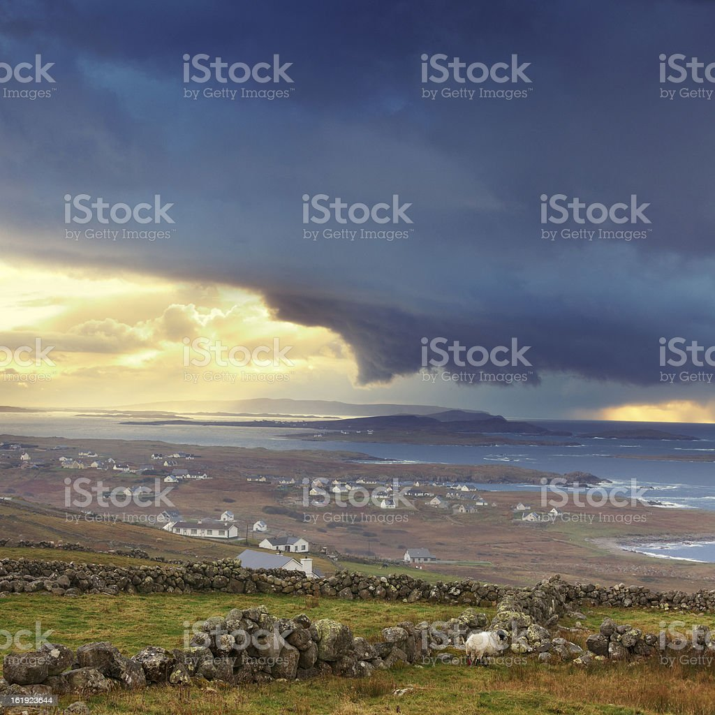 stormy weather in Ireland stock photo