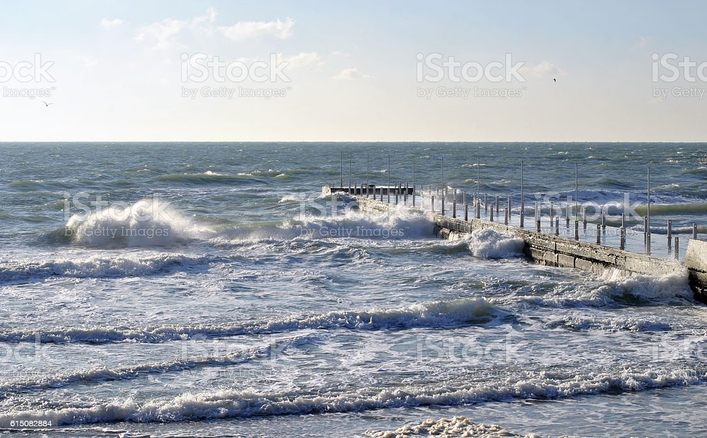 Stormy weather on a sea stock photo