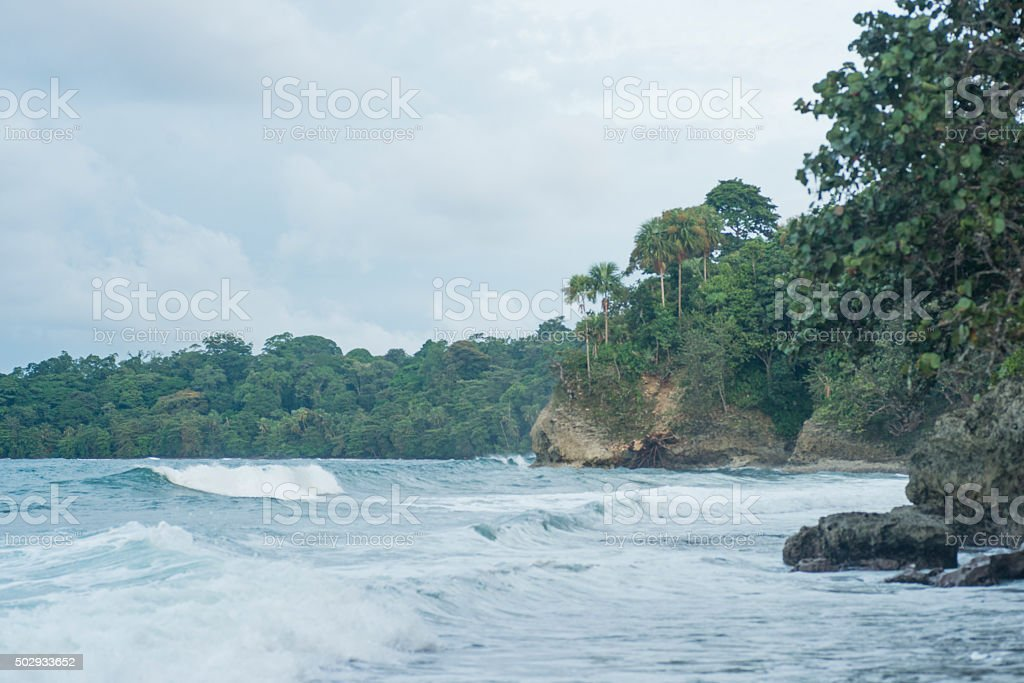 Stormy Weather on Tropical Costa Rica Caribbean Coastal Beach stock photo