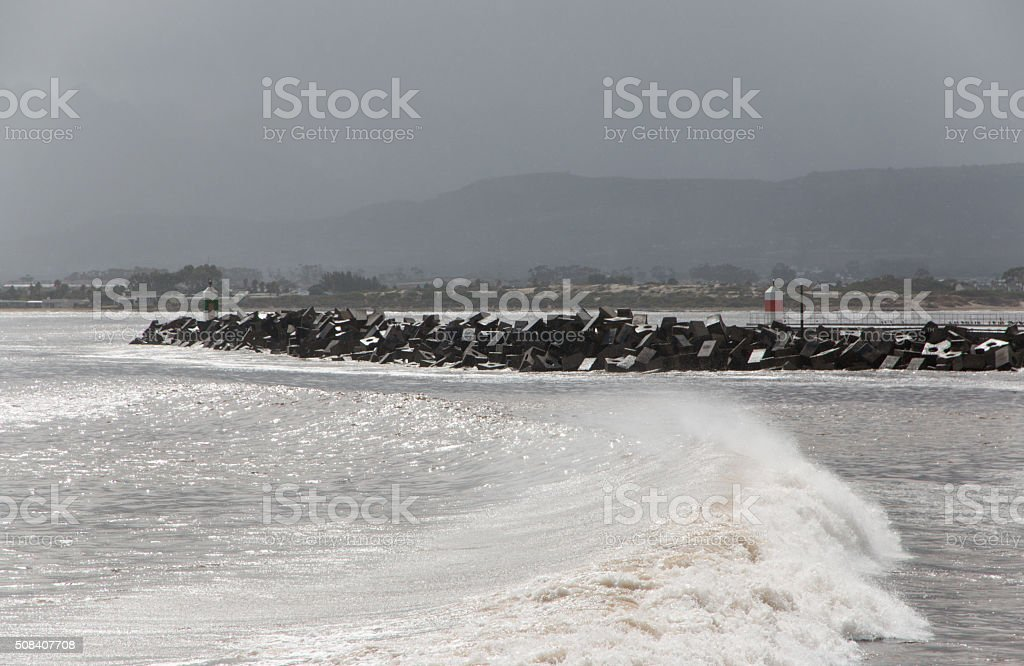 Stormy weather over Gordon's Bay harbour in South Africa 3 stock photo