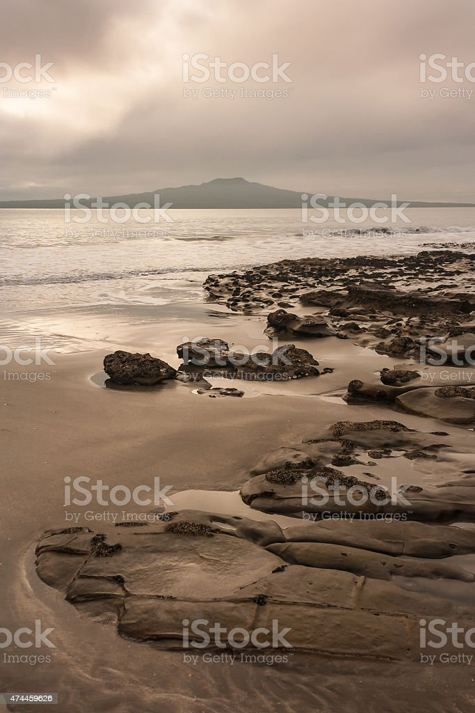 stormy weather over Takapuna beach stock photo