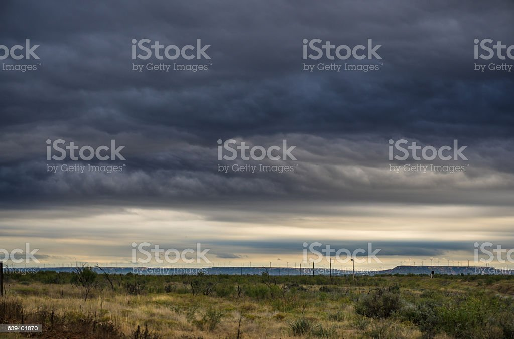 Stormy Weather Over West Texas Wind Farm stock photo