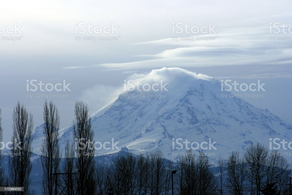 Stormy windswept Mount Rainier from the Aburn Valley stock photo