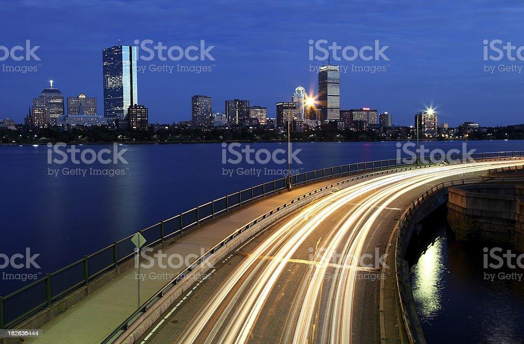 Storrow Drive and the Boston Skyline royalty-free stock photo