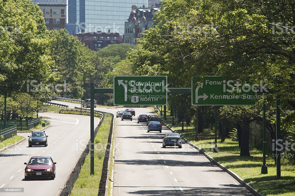 Storrow Drive, on the way to Boston stock photo