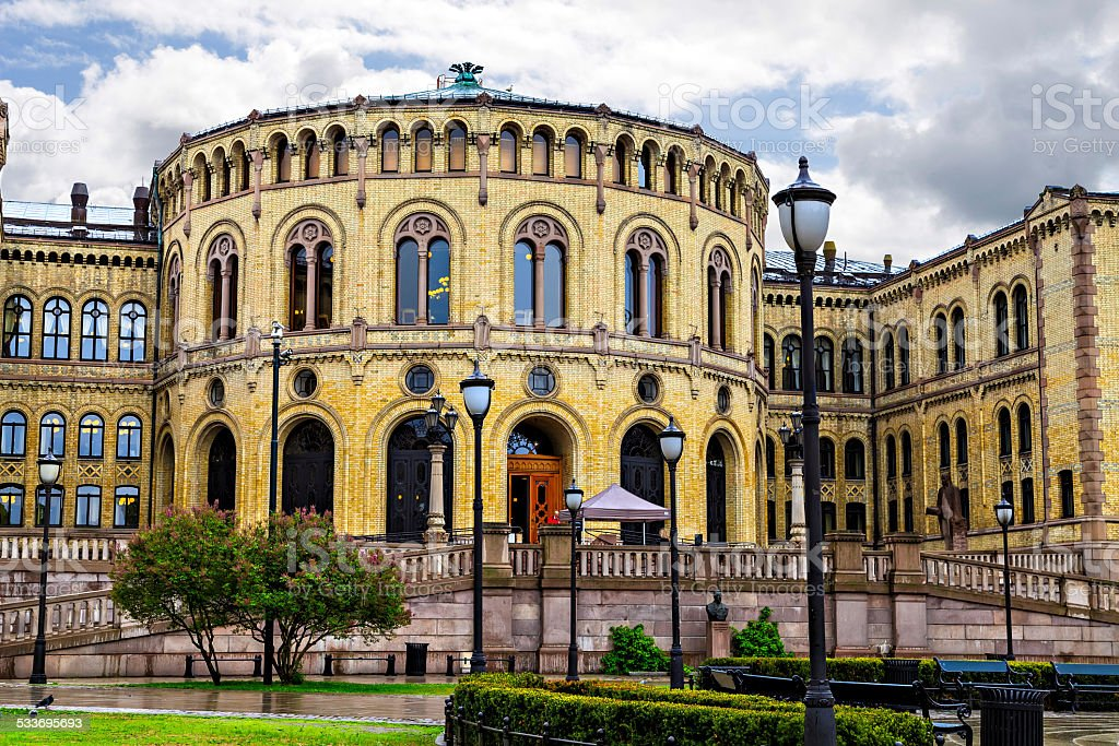 Stortinget, the Oslo Parliament Building, Norway stock photo