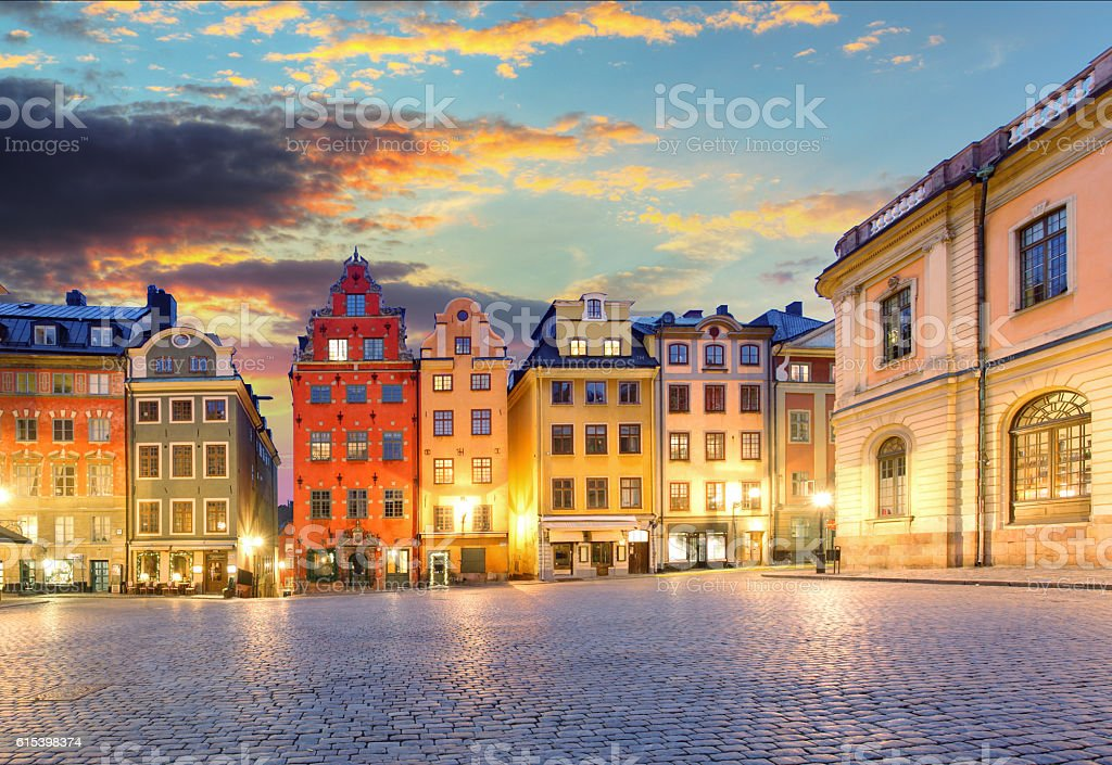 Stortorget in the Old Town Gamla Stan, Stockholm, Sweden stock photo