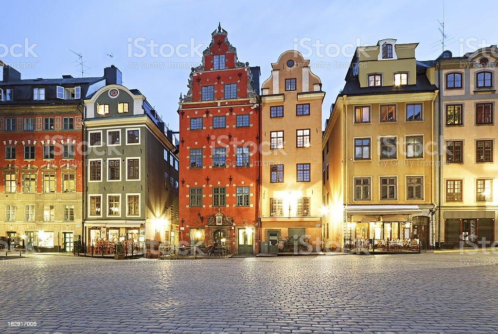 Stortorget square at night, Stockholm stock photo