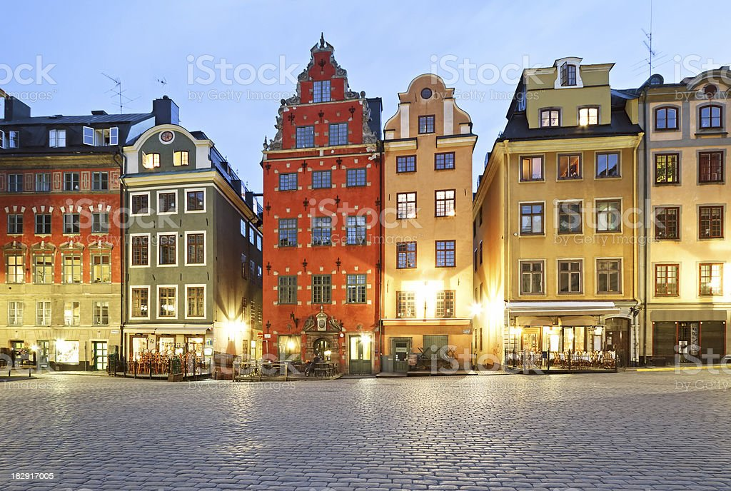 Stortorget square at night, Stockholm stock photo