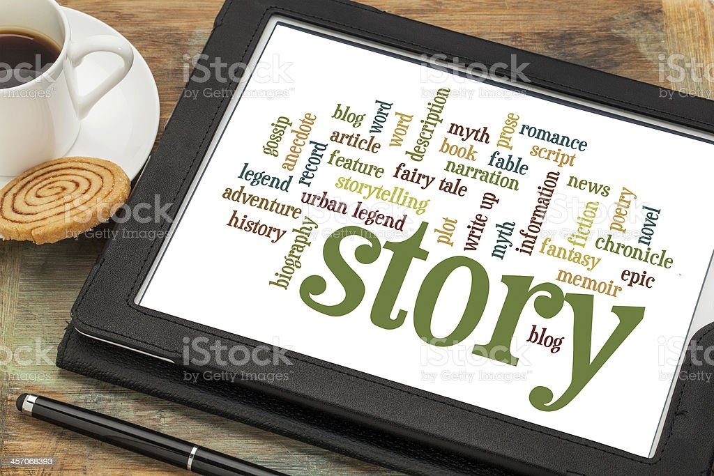 story and storytelling word clouds stock photo