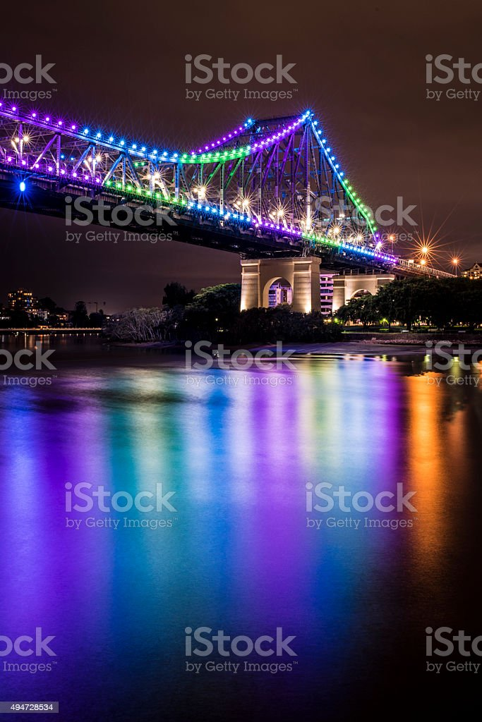 Story Bridge, Brisbane, Australia at Night stock photo