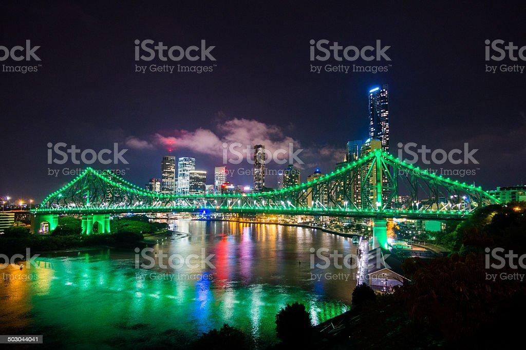 Story Bridge Brisbane by Night, Australia stock photo