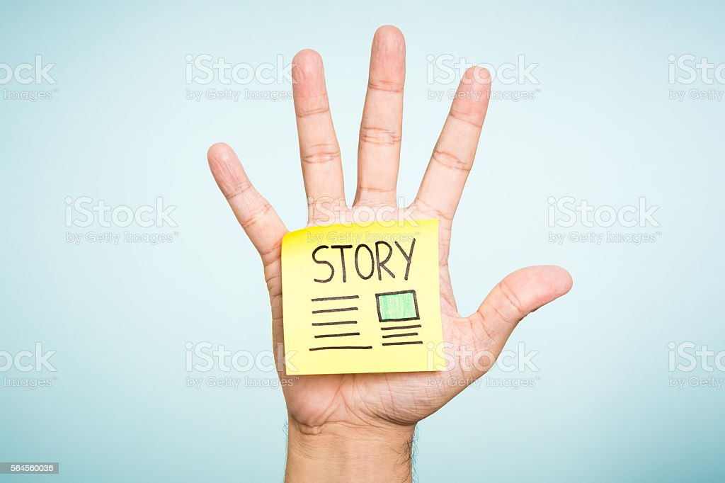 Story illustrated paper note concept with open hand palm. stock photo