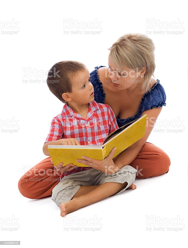 Story time - family over white royalty-free stock photo