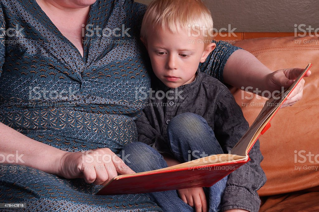Story time in the couch stock photo