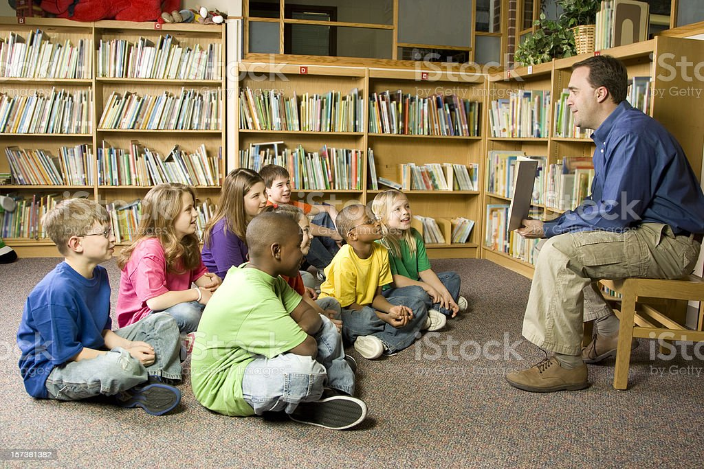 Story Time in the School Library stock photo
