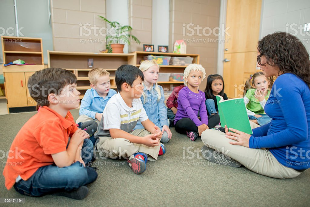 Story Time Together in Class stock photo